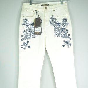 Roberto Cavalli Cream Embroidered Jeans